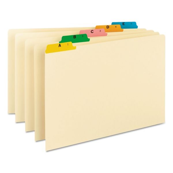 Smead Recycled Top Tab File Guides, Alpha, 1/5 Tab, Manila/Color, Legal, 25/Set