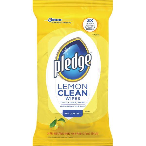 Pledge Lemon Wipes 24 ct.