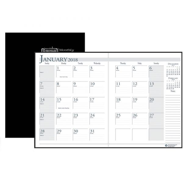 House of Doolittle Recycled Ruled 14-Month Planner, Leatherette Cover, 7x10, Black, 2017-2019