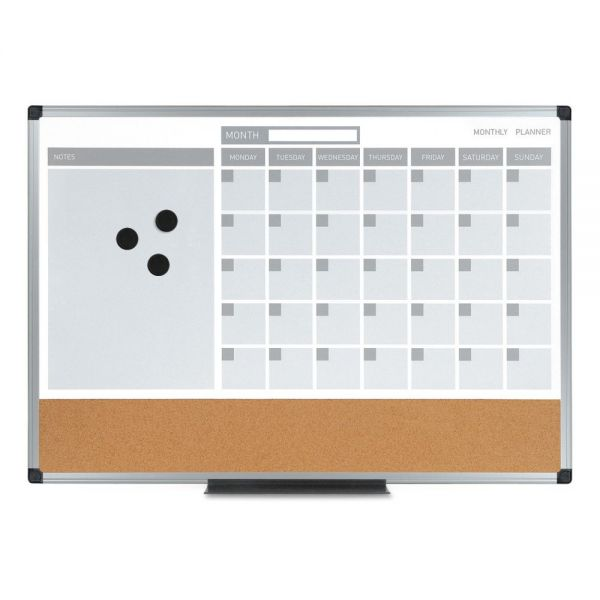 MasterVision 3-in-1 Calendar Planner Dry Erase Board, 36 x 24, Silver Frame