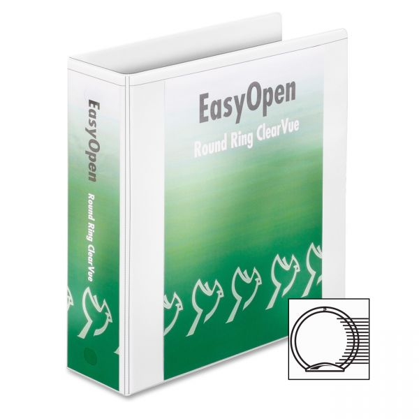 "Cardinal Premier Easy Open ClearVue Locking 3-Ring View Binder, 3"" Capacity, Round Ring, White"