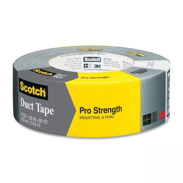 "Scotch Pro Strength Duct Tape, 1.88"" x 60 yd, Gray"