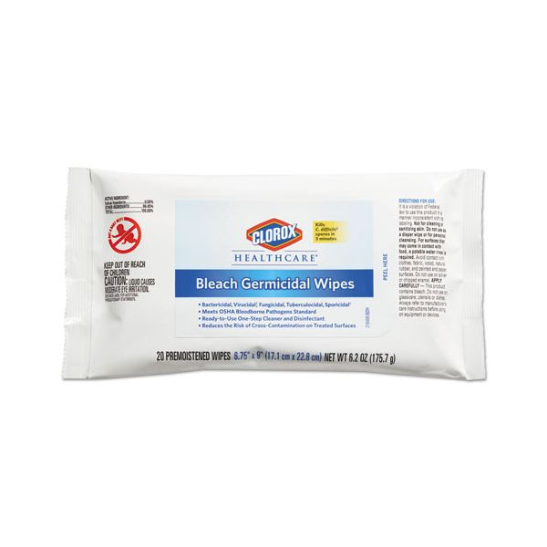 Clorox Healthcare Bleach Germicidal Wipes, 6 3/4 x 9, Unscented, 20/Pack, 24 Packs/Carton