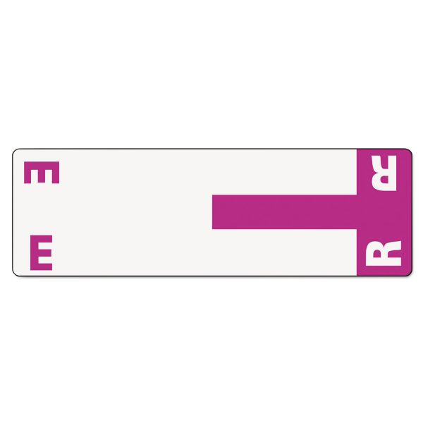 Smead Alpha-Z Color-Coded First Letter Name Labels, E & R, Purple, 100/Pack