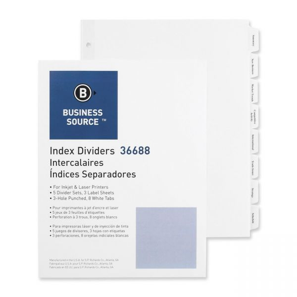 Business Source Index 8-Tab Dividers With Labels