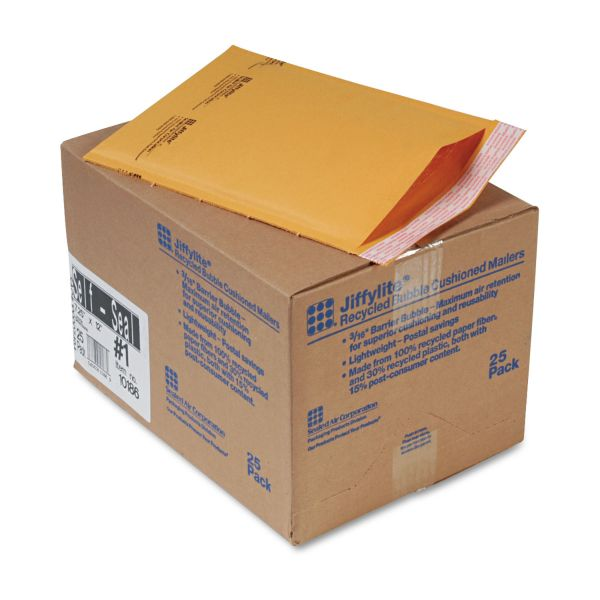 Sealed Air Jiffylite Self Seal Mailer, #1, 7 1/4 x 12, Golden Brown, 25/Carton