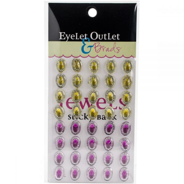 Bling Self-Adhesive Oval Jewels 12mm 40/Pkg