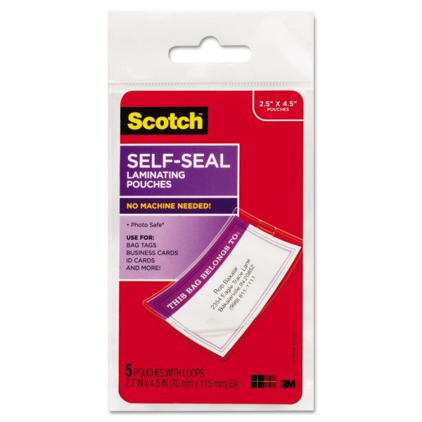 Scotch Self-Sealing Laminating Pouches, 12.5 mil, 2 13/16 x 4 1/2, Luggage Tag, 5/Pack