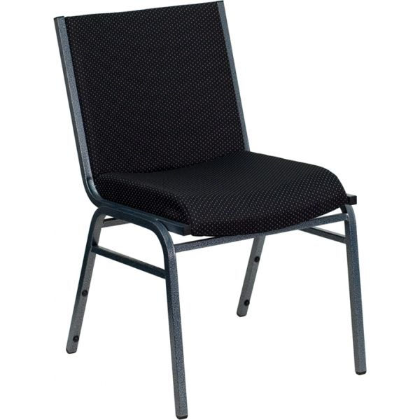 Flash Furniture HERCULES Series Heavy Duty, 3'' Thickly Padded, Black Patterned Upholstered Stack Chair with Ganging Bracket