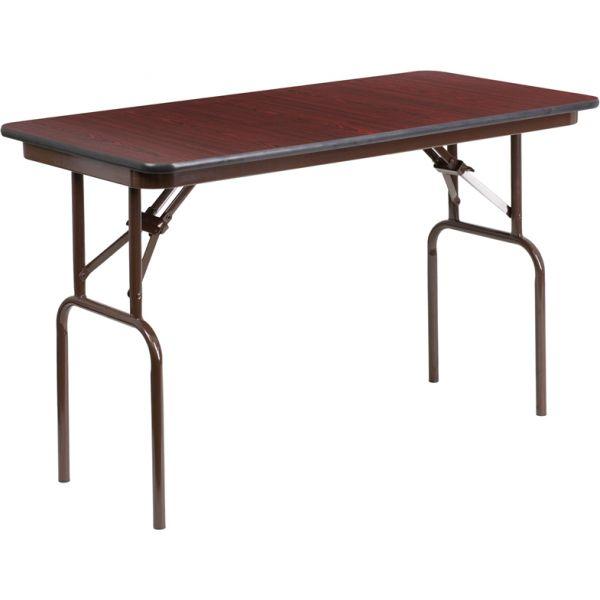 Flash Furniture 24'' x 48'' Rectangular Mahogany Melamine Laminate Folding Banquet Table