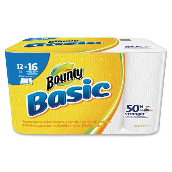Bounty Basic Select-a-Size Paper Towels, 5 9/10 x 11, 1-Ply, 95/Roll, 12 Roll/Pack