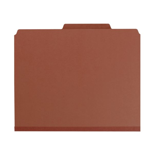 Smead Red Pressboard Classification Folders with SafeSHIELD Fasteners