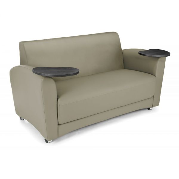 OFM OFM InterPlay Series Upholstered Guest / Reception Sofa, Taupe, Tungsten Tablet