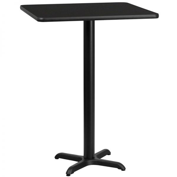 Flash Furniture 24'' Square Black Laminate Table Top with 22'' x 22'' Bar Height Table Base