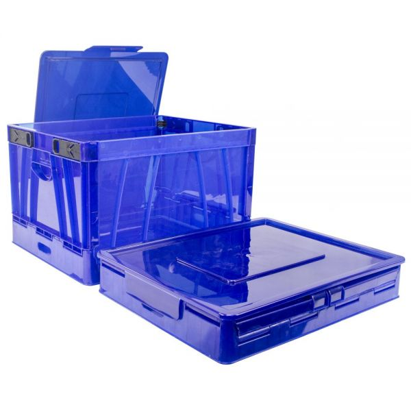 Storex Collapsible Crate with Lid, blue (Case of 4)