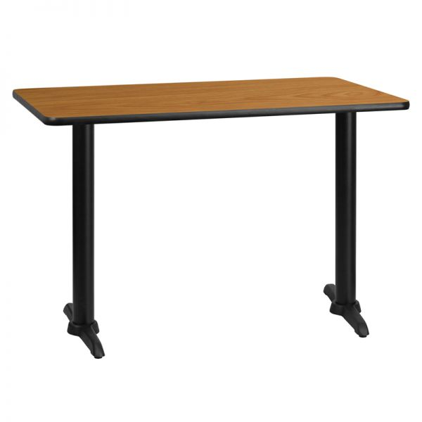 Flash Furniture 30'' x 45'' Rectangular Natural Laminate Table Top with 5'' x 22'' Table Height Bases