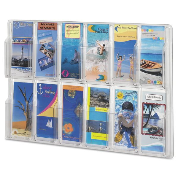 Safco Reveal Clear Literature Displays, 12 Compartments, 30 w x 2d x 20 1/4h, Clear