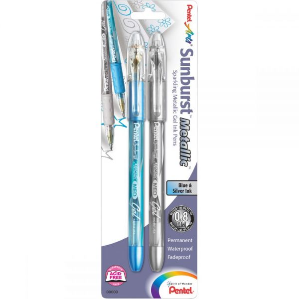Sunburst Metallic Gel Pen Medium Line 2/Pkg