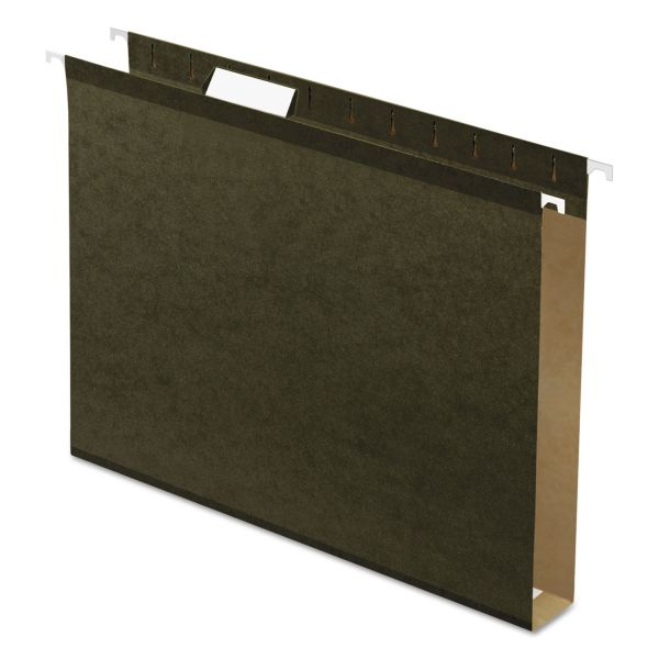 "Pendaflex Reinforced 1"" Extra Capacity Hanging Folders, Letter, Standard Green, 25/Box"