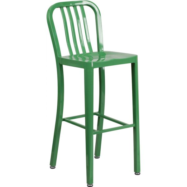 Flash Furniture 30'' High Indoor-Outdoor Barstool with Vertical Slat Back