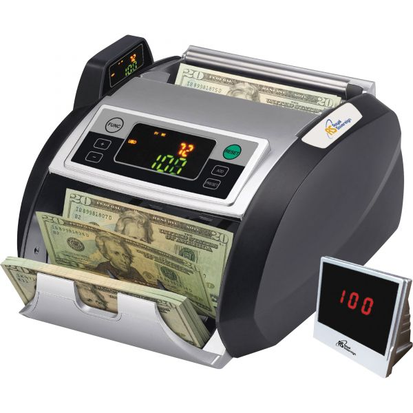 Back loading bill counter with counterfeit detection, 1000 bills/min and auto start/stop, batching 1 -999 bills, auto self test, secondary display