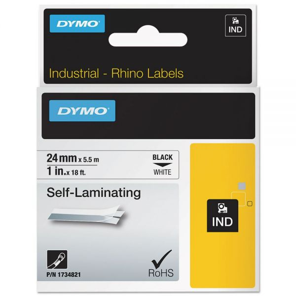 "DYMO Industrial Self-Laminating Labels, 1"" x 18 ft, White"