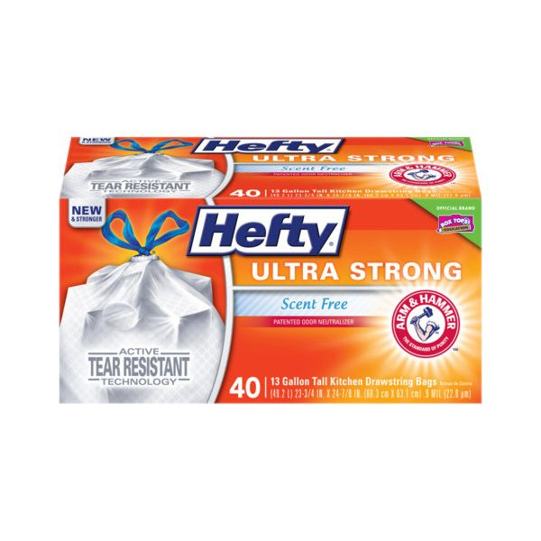 Hefty Ultra Strong Tall Kitchen & Trash Bags, 13 gal, White, 0.9 mil, 40/Box