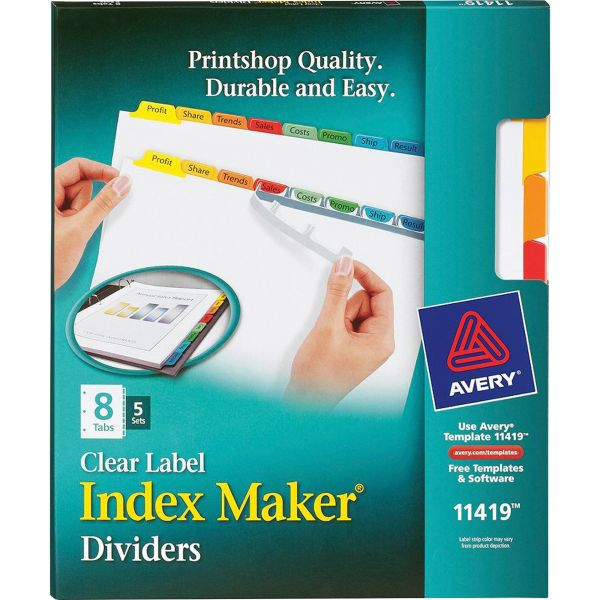 Avery Print & Apply Clear Label Dividers, 8-Tab, Multi-color Tab, Letter, 5 Sets