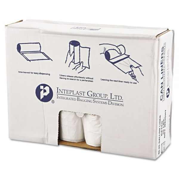 Inteplast Group High-Density Can Liner, 40 x 46, 45gal, 11mic, Clear, 25/Roll, 10 Rolls/Carton