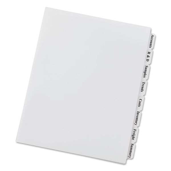 Avery Print & Apply Clear Label Unpunched Dividers, 8-Tab, Ltr, 5 Sets