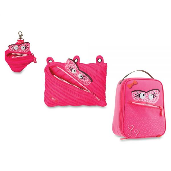 ZIPIT Monstar Carrying Case for Makeup, Memory Card, Key, Accessories, Food - Pink
