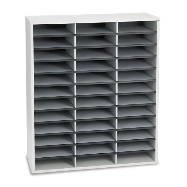Fellowes Literature Organizer, 36 Sections Letter, 29 x 11 7/8 x 34 11/16, Dove Gray