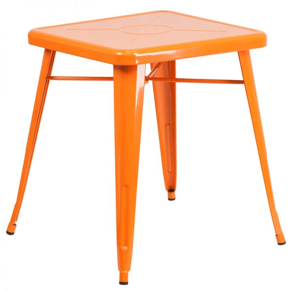 Flash Furniture 23.75'' Square Orange Metal Indoor-Outdoor Table