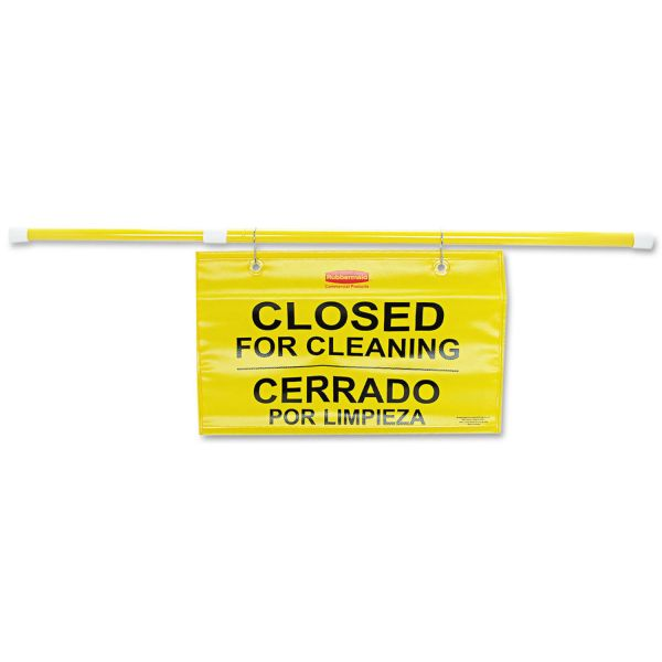 """Rubbermaid Commercial Site Safety Hanging Sign, 50"""" x 1"""" x 13"""", Multi-Lingual, Yellow"""