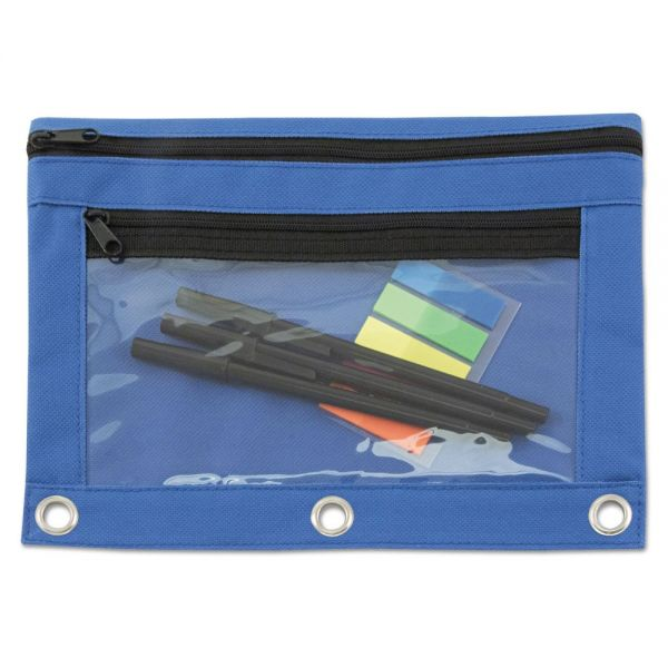 Advantus Binder Pouch with PVC Pocket, 9 1/2 x 7, Blue, 6/Pack
