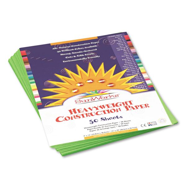 SunWorks Construction Paper, 58 lbs., 9 x 12, Bright Green, 50 Sheets/Pack
