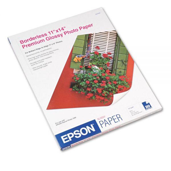 Epson Premium Photo Paper, 68 lbs., High-Gloss, 11 x 14, 20 Sheets/Pack