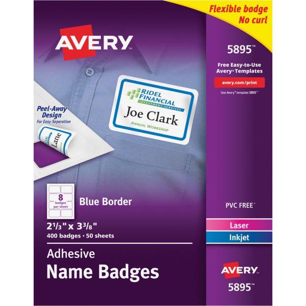 Avery Flexible Self-Adhesive Laser/Inkjet Name Badge Labels, 2 1/3 x 3 3/8, BE, 400/BX