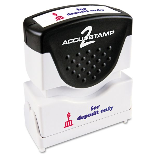 ACCUSTAMP2 Pre-Inked Shutter Stamp with Microban, Red/Blue, FOR DEPOSIT ONLY, 1 5/8 x 1/2