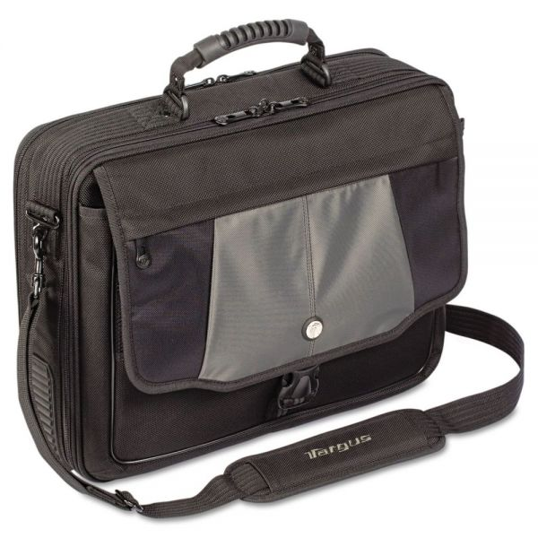 "Targus Blacktop 17"" Deluxe Laptop Case, Polyester, 18-1/2 x 5-1/2 x 16-1/4, Black"