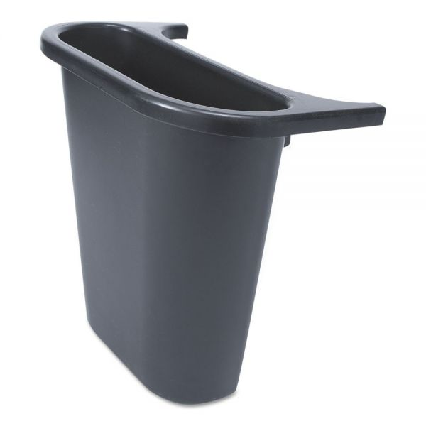 "Rubbermaid Commercial Saddle Basket Recycling Bin, Rectangular, Black, 7 1/4""W x 10 3/5""D x 11 1/2""H"