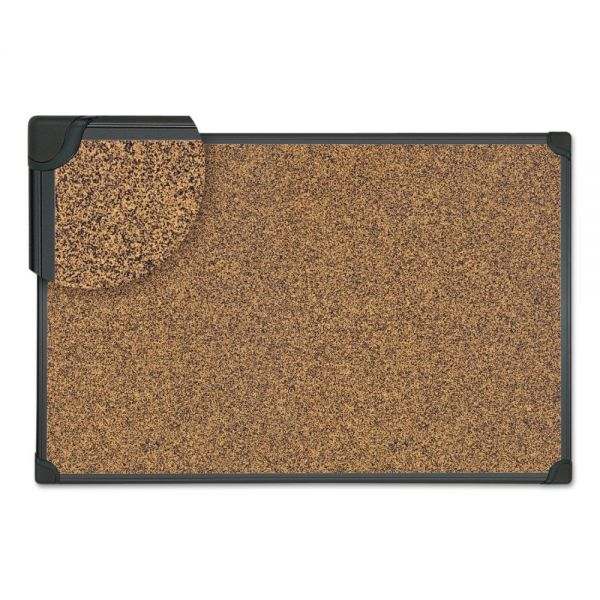 Universal Tech Cork Board, 24 x 18, Cork, Black Frame
