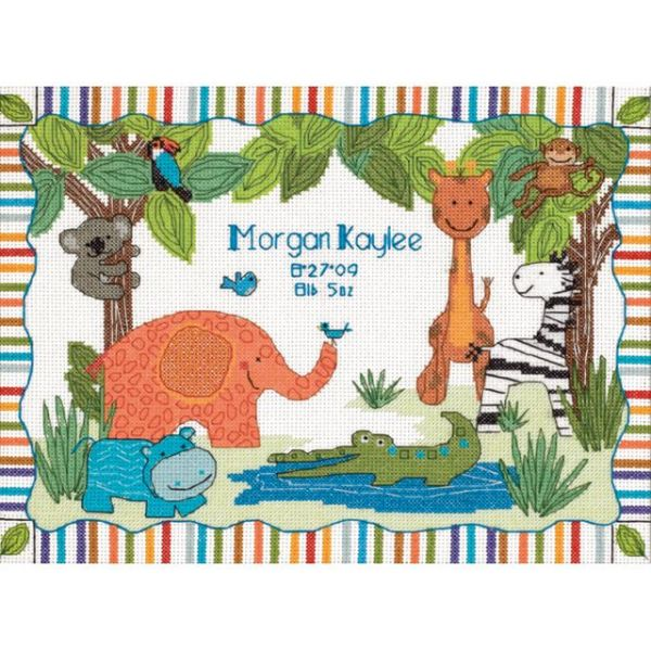 Dimensions Baby Hugs Mod Zoo Birth Record Counted Cross Stitch Kit