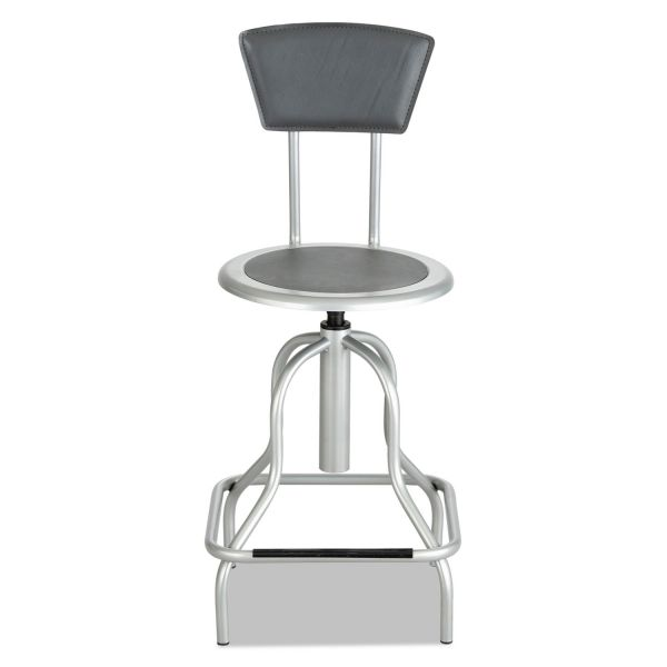 Safco Diesel Series Industrial Stool w/Back, High Base, Silver Leather Seat/Back Pad