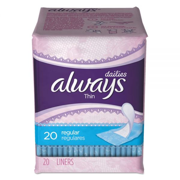 Always Dailies Thin Liners, Regular, 20/Pack