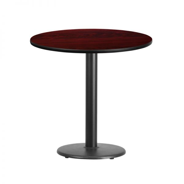 Flash Furniture 30'' Round Mahogany Laminate Table Top with 18'' Round Table Height Base