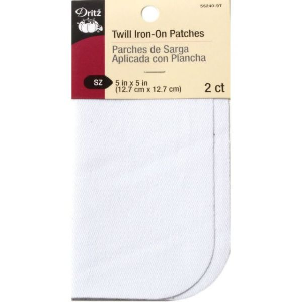 "Iron-On Twill Patches 5""X5"" 2/Pkg"