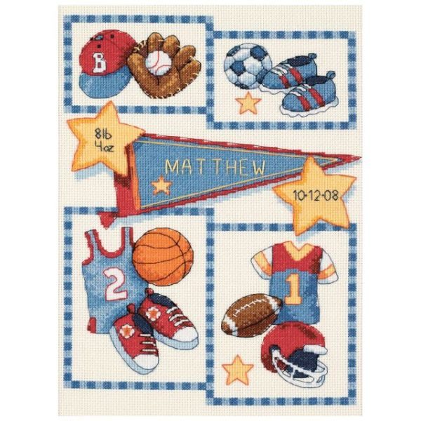 Dimensions Baby Hugs Little Sports Birth Record Counted Cross Stitch Kit