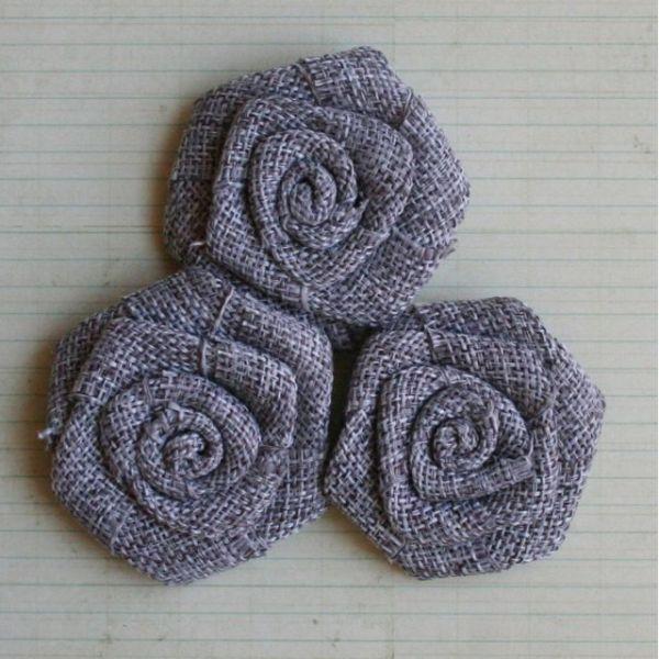 """Vintage Linen Burlap Roses 2"""" 3/Pkg"""