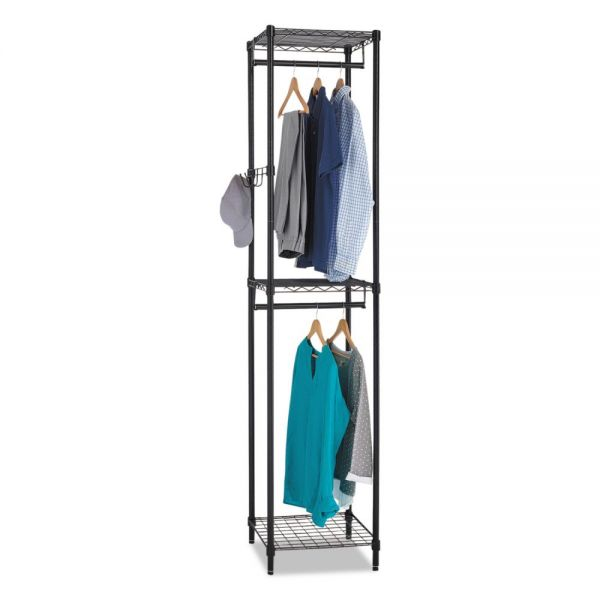 Alera Wire Shelving Garment Tower, 18w x 18d x 81 3/4h, Black